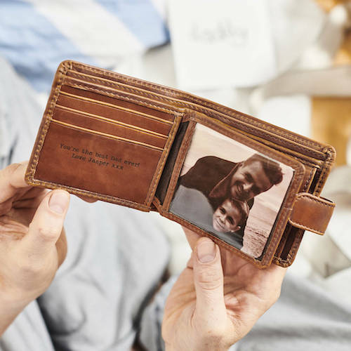 Personalised Leather Tri-Fold Wallet With Rfid